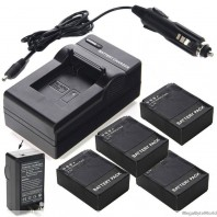 4 x AHDBT 301/201 Replacement Battery For GoPro HD Hero3 3+ and AC/DC Charger