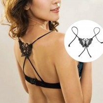Black Women girl Fashion Sexy Underwear Cross Back Butterfly Bra Shoulder Strap