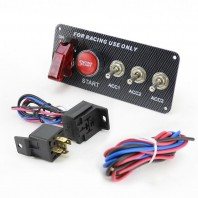 Ignition Switch 12V Panel Engine Start Push Button LED Toggle for Racing Car